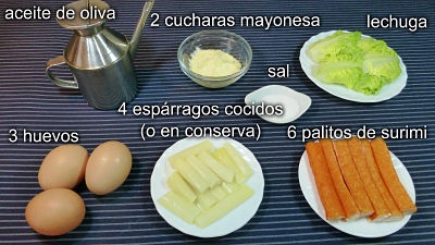 Rollitos de tortilla. Ingredientes
