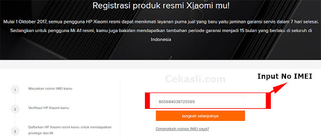 input kode IMEI Xiaomi ke website resmi