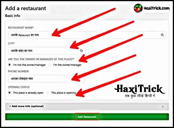 how to add hotel restaurent in zomato delhi mumbai