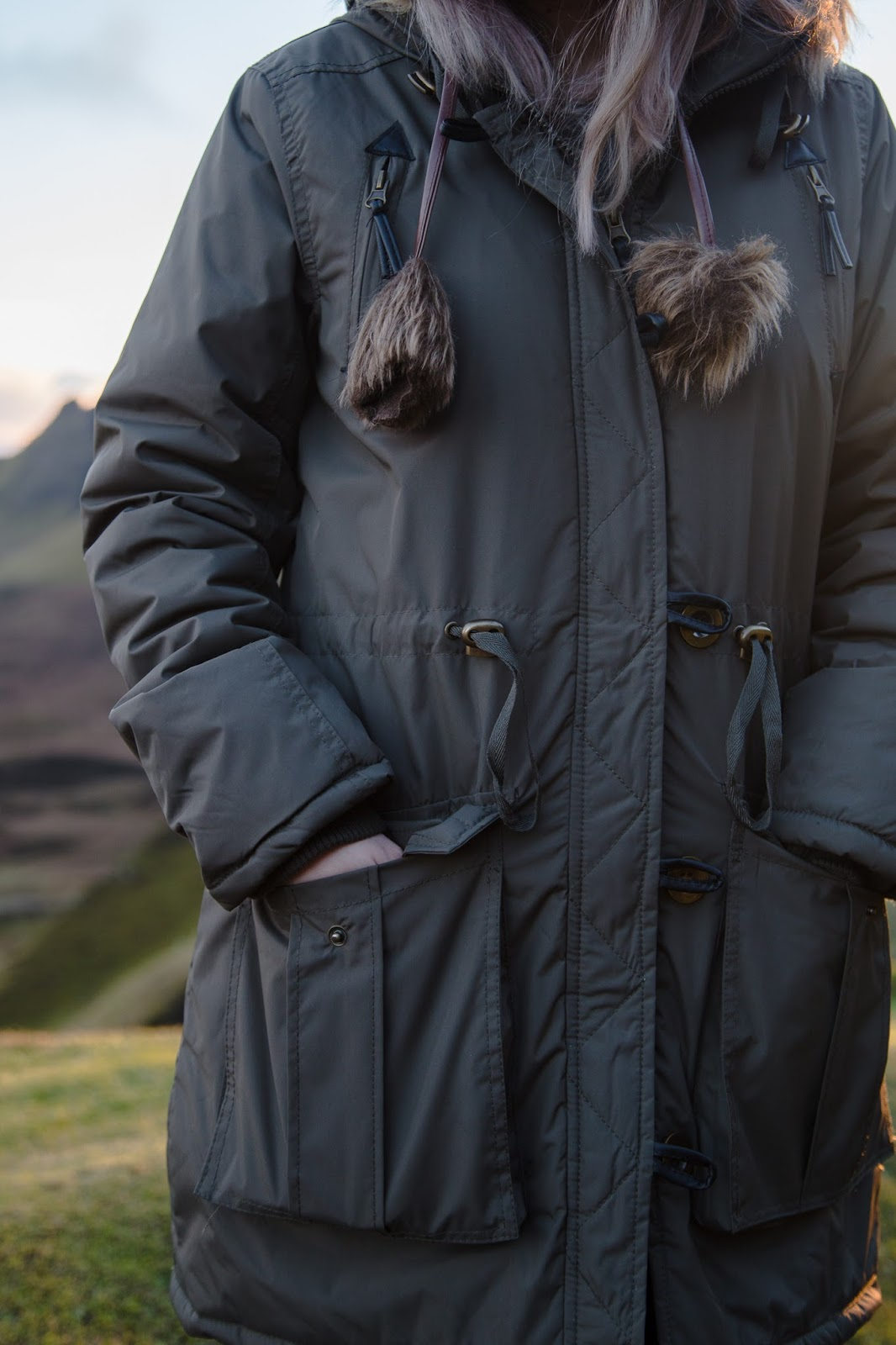 Quiraing Isle of Skye Parka Outfit Styling Bear Hat