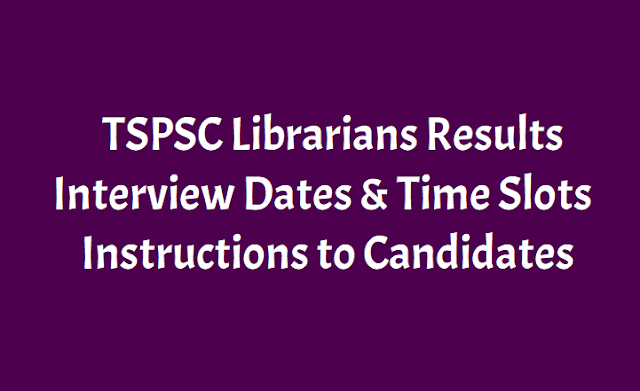 TSPSC Librarians Results, Interview Dates