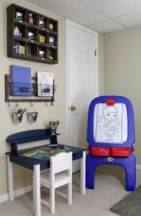Organized art station for kid's art and craft supplies