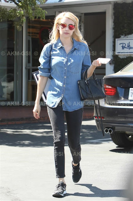 Emma Roberts Wearing Denim Shirt