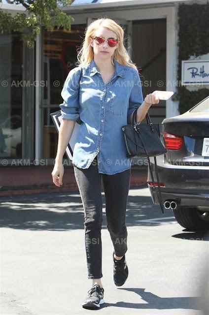 Emma Roberts Wearing Denim Shirt