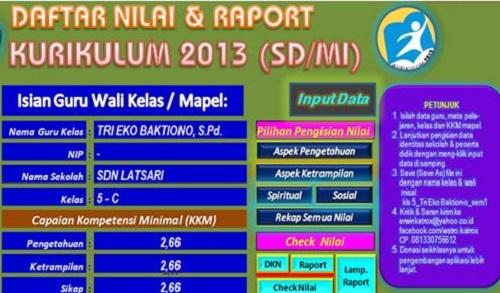 Aplikasi Penilaian Raport SD/MI Kurikulum 2013 Semester 1 Terbaru
