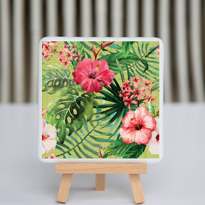 fusography, tropical, flamingo, fused glass, full color photo on fused glass