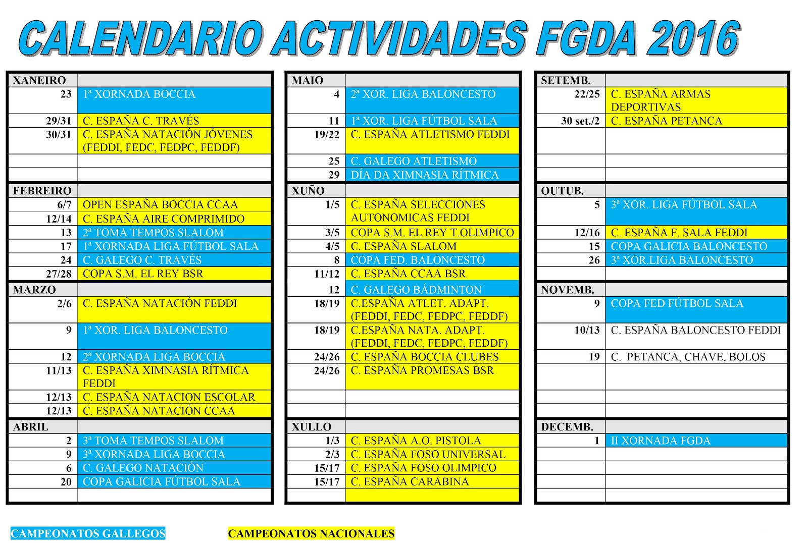 Calendario De Actividades Eventos: Calendario De Actividades Anual 2015 2016