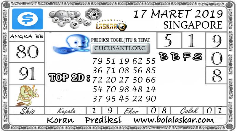 Prediksi Togel SINGAPORE LASKAR4D 17 MARET 2019