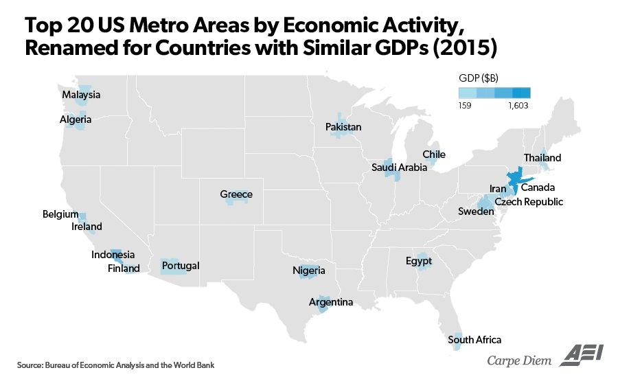 Top 20 U.S. metro areas by economic activity, renamed for countries with similar GDPs