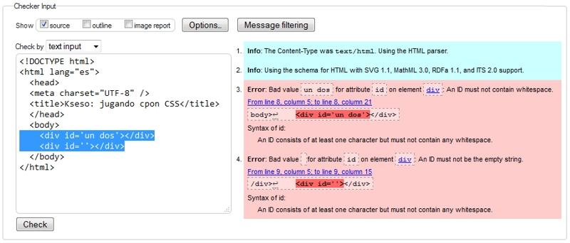 Errores html por atributo ID vacío y con espacios en blanco
