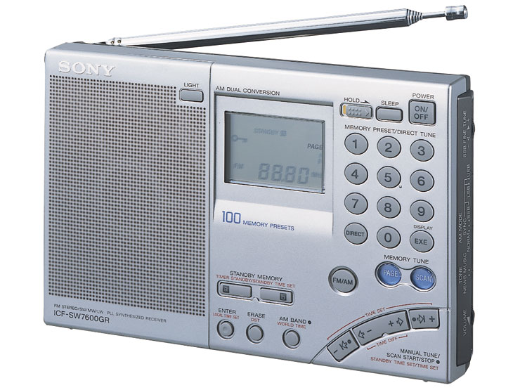 Радиоприемник Sony ICF-SW7600G|GR легендарная модель имеет многофункциональный жидкокристаллический экран, цифровую клавиатуру для ввода частоты и управления