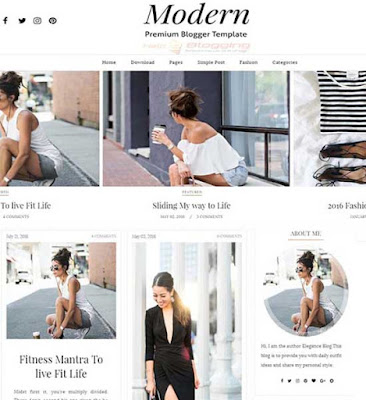 Modern Responsive, clean, girly design Awesome Slideshow Gallery style Masonry Portfolio view Navigation with post thumbnails Awesome Slideshow Minimalist Seo Ready Free Premium 2 Columns layout 3 Columns Footer Gallery style White, Black color Drop down Menu Instagram Ready Right Sidebar Blogger Template Download