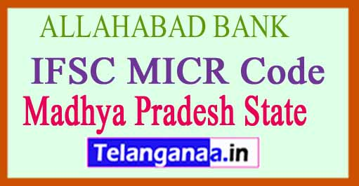 ALLAHABAD BANK IFSC MICR Code Madhya Pradesh