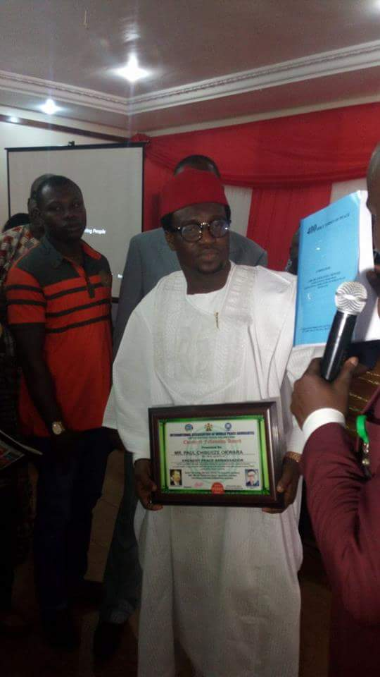 International Association of World Peace Advocates honours his Excellency Amb Chibueze &Amb Engr Peter Chinyere (Photos)