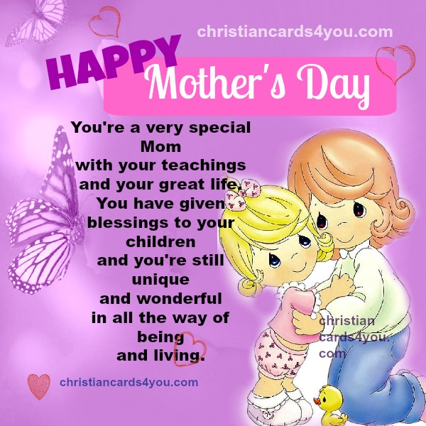 Happy Mother's day Card, free christian quotes for mom.