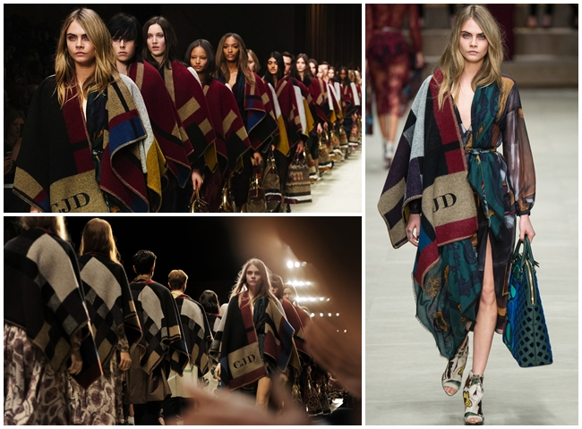 cf. Burberry Prorsum 2015 AW Navy Patchwork Fringed Cape