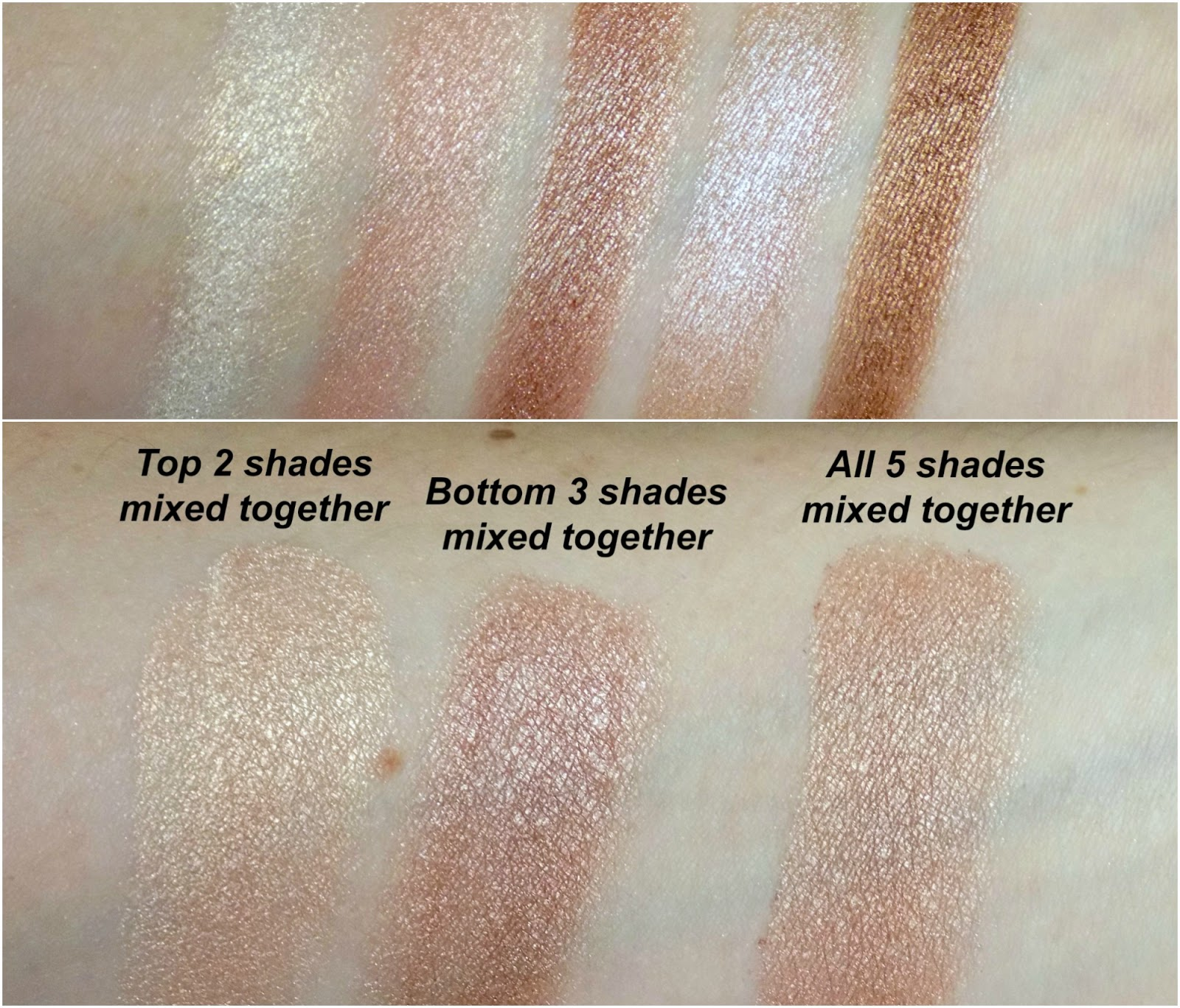 Makeup Revolution Shimmer Brick in Radiant swatches