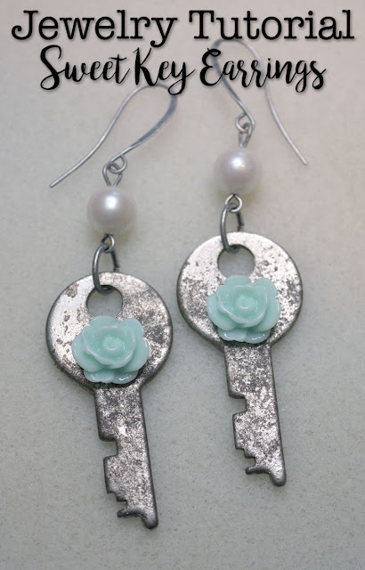 DIY altered key earrings