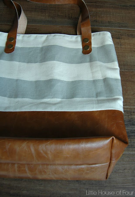 DIY Leather Bottom Fabric Tote - via Little House of Four