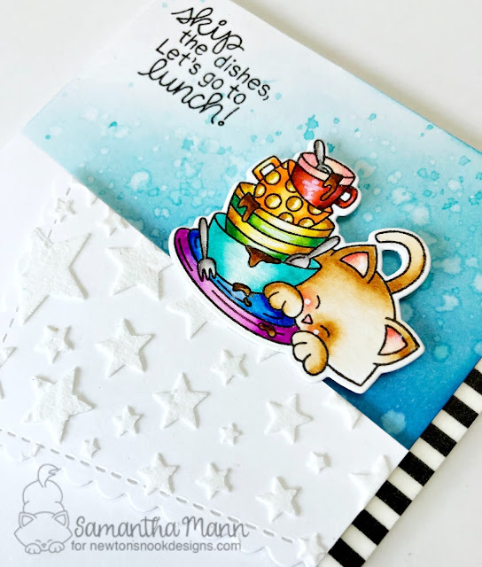 Skip the Dishes and Go to Lunch Card by Samantha Mann for Newton's Nook Designs, ink blending, handmade cards, embossing paste, dishes #newtonsnookdesigns #cards #kitchen