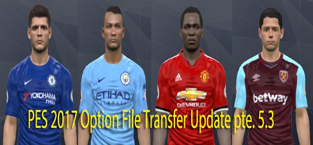 PES 2017 Option File Transfer Update 28.7.2017