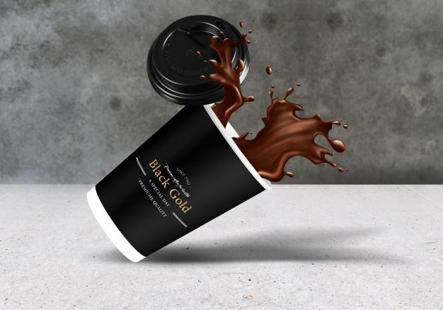 Falling coffee cup mockup Free Psd