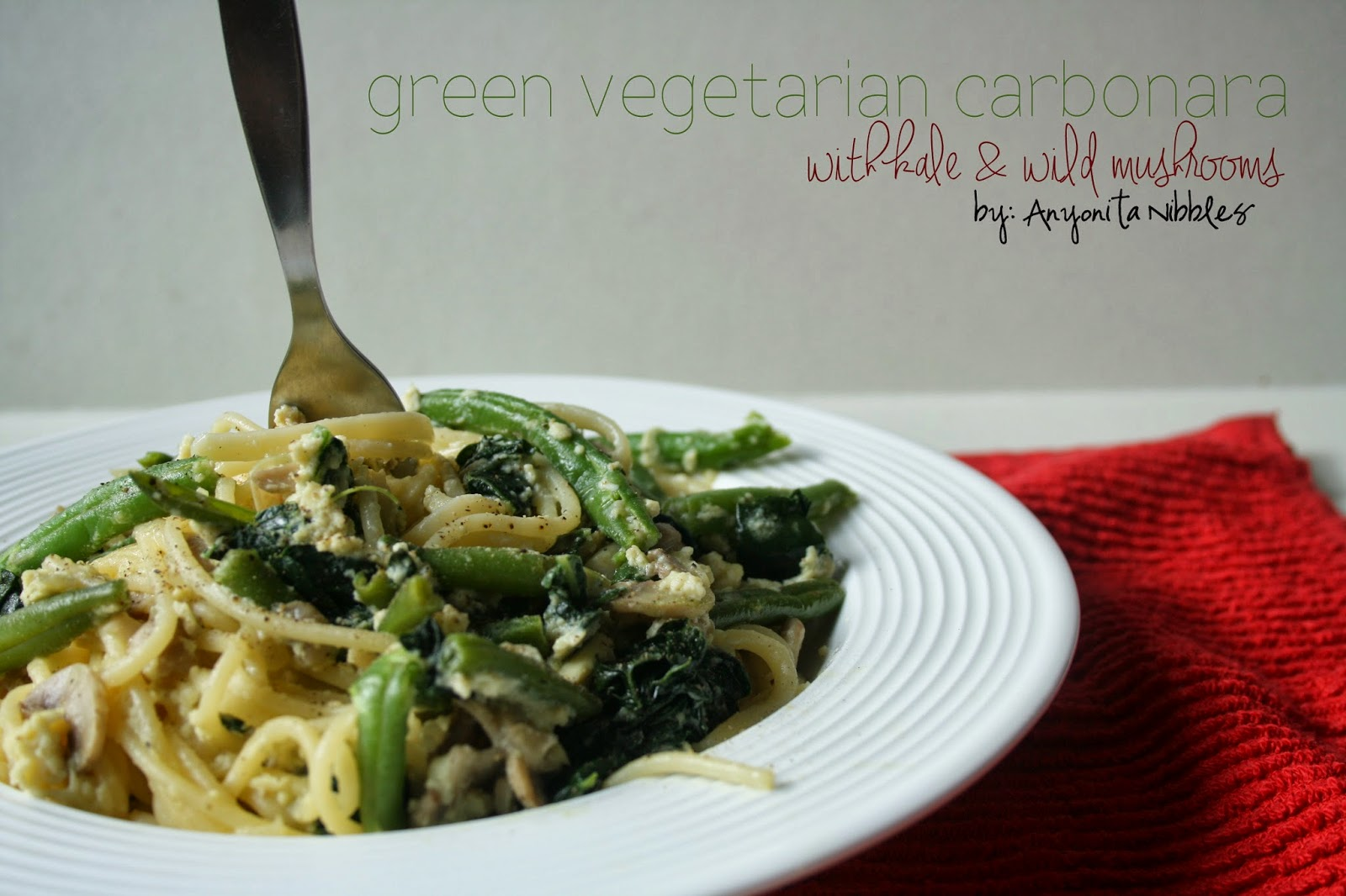 Green Vegetarian Carbonara with Kale and Mushrooms | Anyonita Nibbles