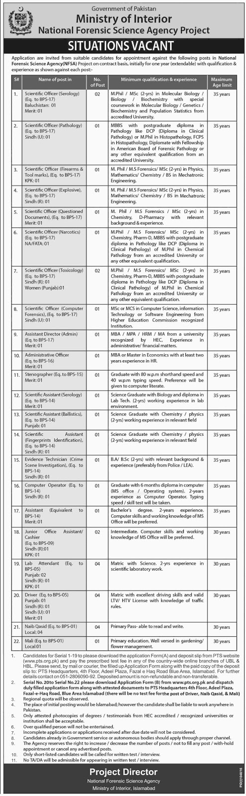 Ministry Of Interior Islamabad Jobs September 2016