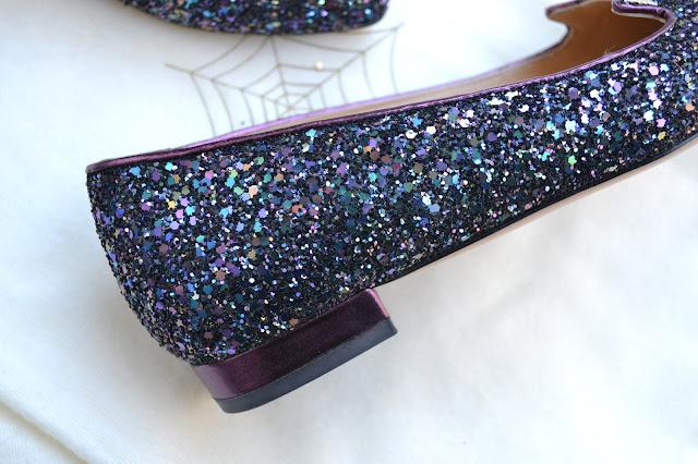 Charlotte Olympia Mid Century Glitter Kitty Flats
