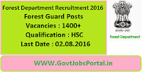 Forest Department Recruitment 2016 for 1400+ Forest Guards Apply Online Here