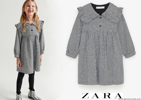 Princess Charlotte wore Zara Houndstooth Puritan collar dress