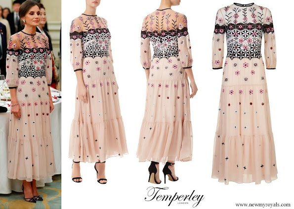 Queen Letizia wore Temperley London Eggshell floral embroidery tulle midi dress