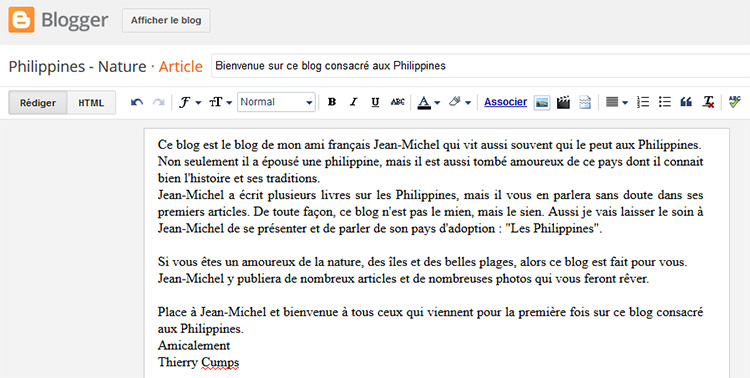 le premier article du blog