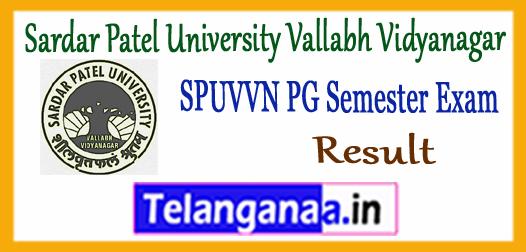 SPUVVN  Sardar Patel University Vallabh Vidyanagar PG 1st 3rd Semester Result 2017