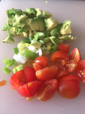 chopped avocado cherry tomato and spring onions