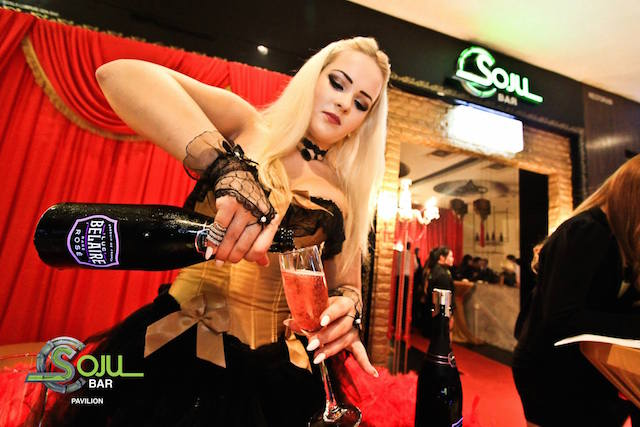 Luc Belaire premium Rare Rose champagne being poured