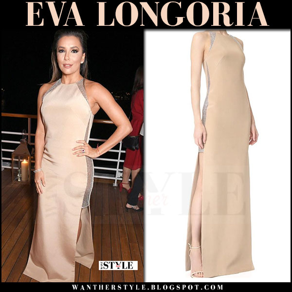 Eva Longoria in beige silk long gown kaufman franco cannes may 2017 what she wore