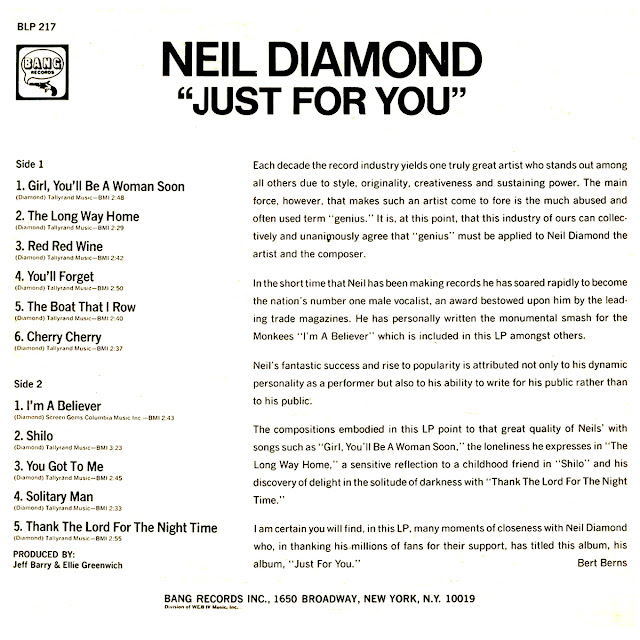 Cd NEIL DIAMOND' -JUST FOR YOU Back