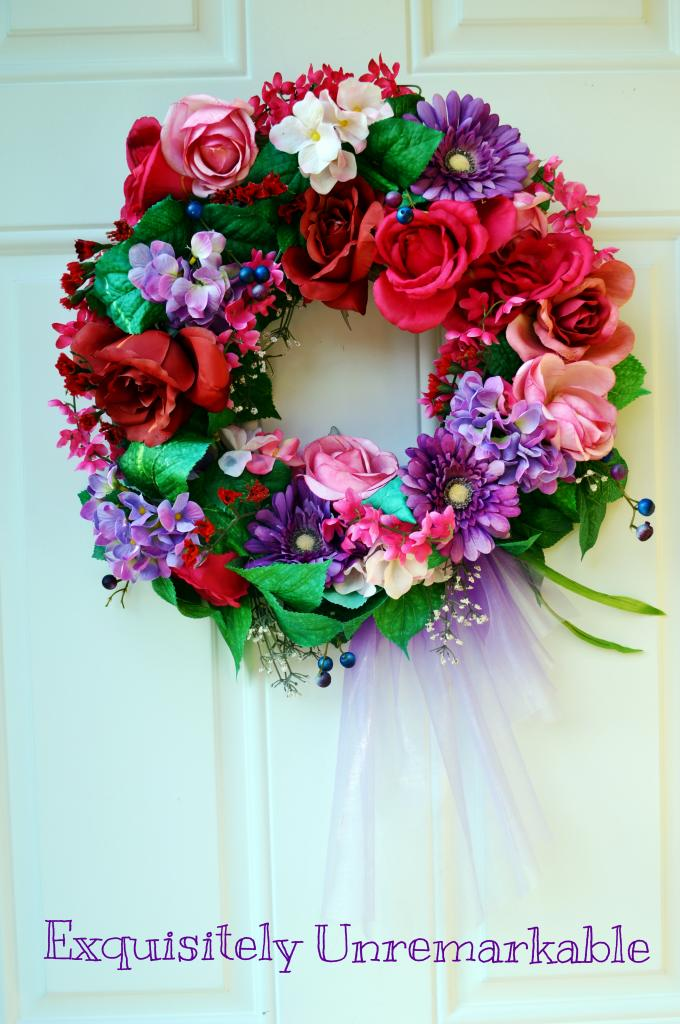 Red and Pink Floral Wreath