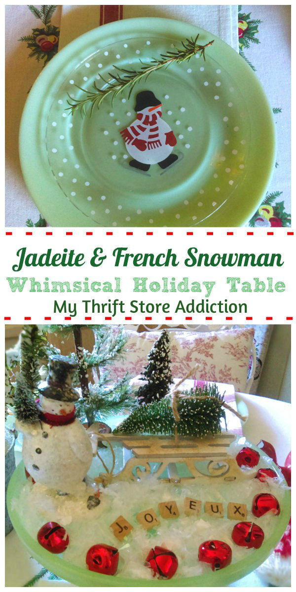 whimsical vintage French snowman Christmas tablescape