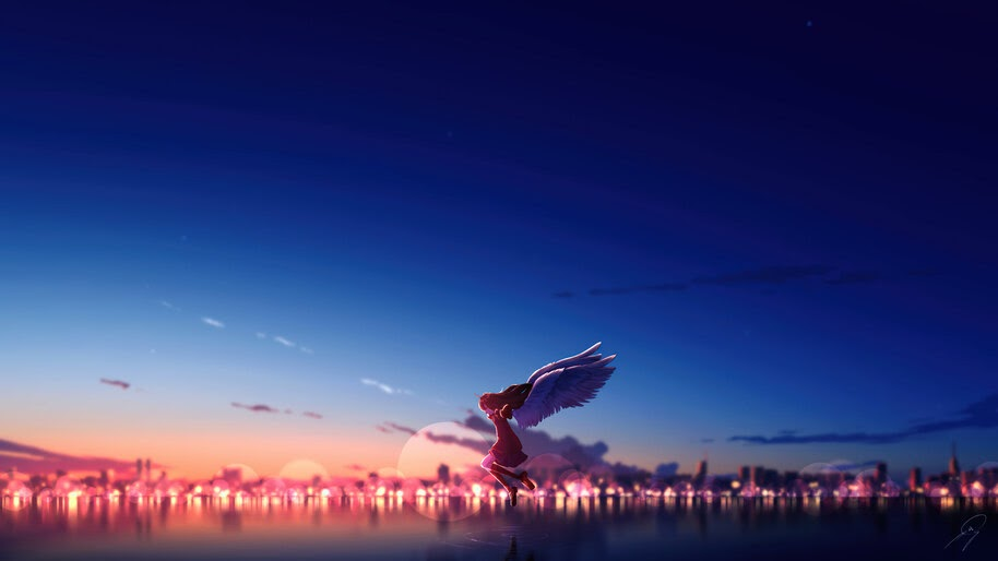 Anime, Girl, Wings, Sunset, Scenery, City, 4K, #6.1297