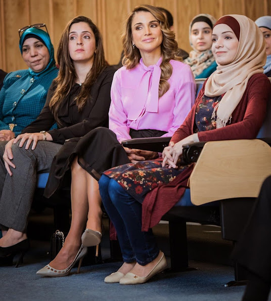 Queen Rania style fashion wore dress, Tabitha Simmons Shoes, Valentino tops, Valentino Garavani skirt, clothing, Claes Iversen dress, awa2el,  diamond earrings