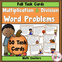 Fall Multiply and Divide Word Problem Task Cards
