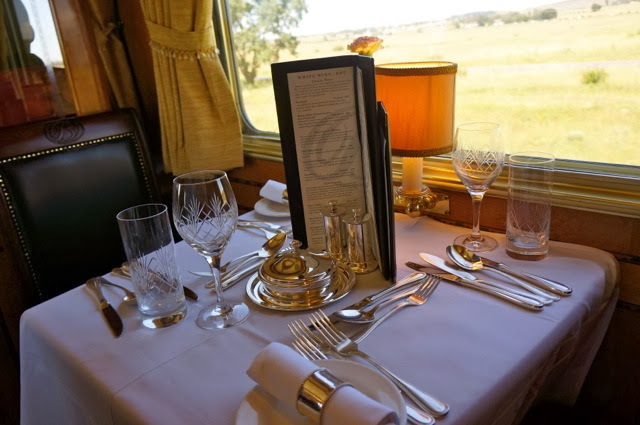 Dinner onboard the Blue Train in South Africa