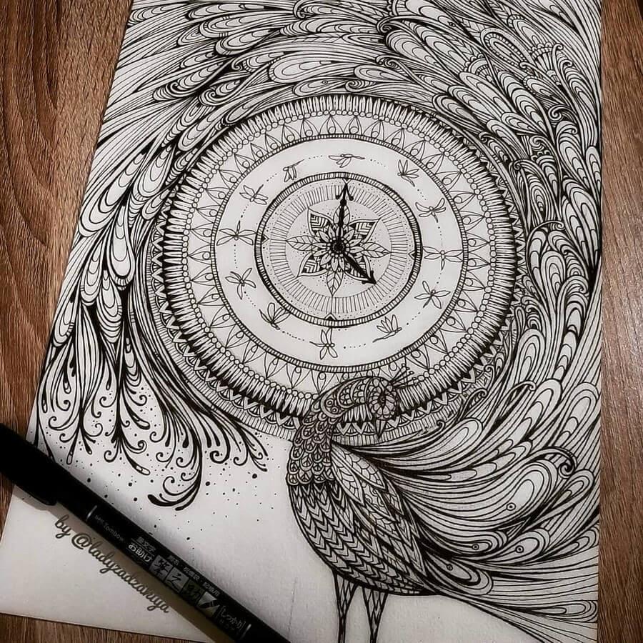 08-Peacock and Time-Anugrah-Momof-Mandala-Art-www-designstack-co