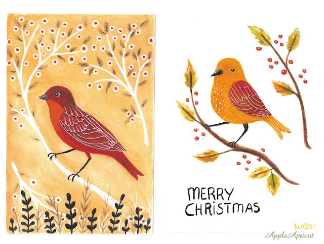 bird illustrations in gouache by AppleApricot Wen