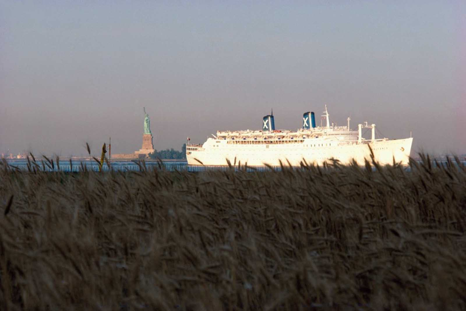 Ocean liner passing the Wheatfield on the Hudson.