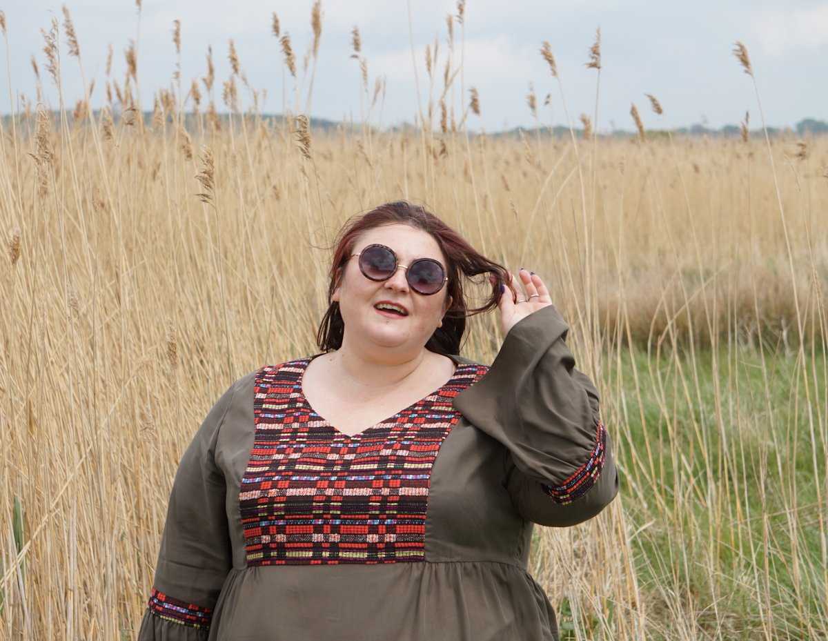 Manon Baptiste Navabi A line plus size embroidered dress // www.xloveleahx.co.uk