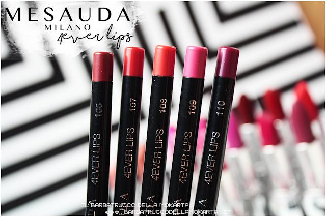 makeup swatches 4ver lips , matite labbra, automatica, mesauda