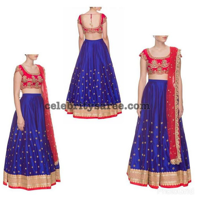 Royal Blue Lehenga by Mrunalini Rao